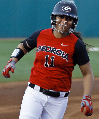 Freshman utility player, Kaylee Puailoa, hits her first home run as a Bulldog on Friday.