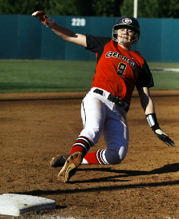 Paige Wilson slides into third base against Campbell.