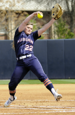 Marcy Harper pitching against Florida last weekend.