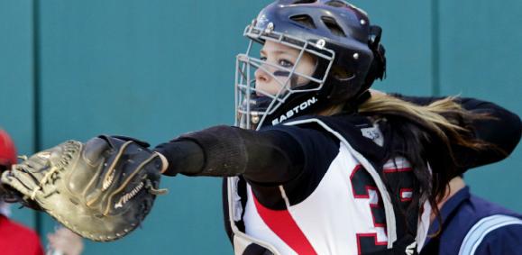 Rookie catcher Katie Browne gunning down to second base against Gardner-Webb.