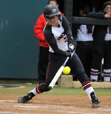 Tess Sito hits a home run against Ole Miss--her third home run in as many games.