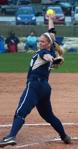 Georgia Southern's most dominant pitcher this season, Sarah Purvis, in action in the circle.