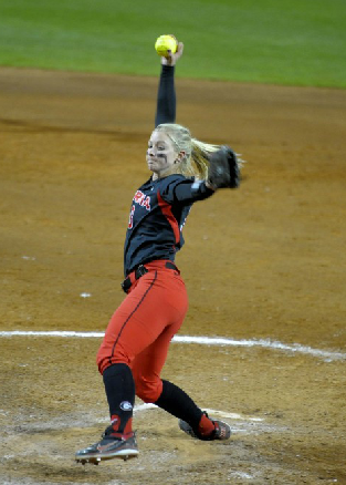 Tess Sito pitches against Radford in the Bulldog Invitational.