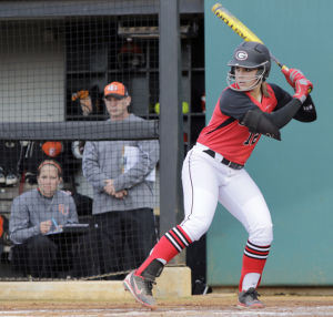 Geri Ann Glasco prepares to swing in a game against Campbell earlier this season.