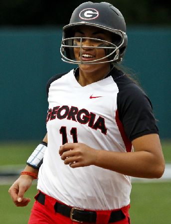 "Kaylee ""Moose"" Puailoa rounds the bases after blasting her first career grand slam against Georgia Tech on Wednesday."