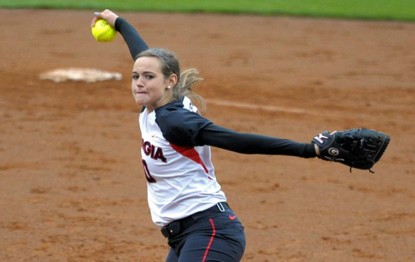 Chelsea Wilkinson in action against Texas A&M on a wet Friday evening in Athens.