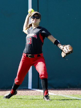Samantha LaZear relays a throw back to the infield in a game against Texas A&M