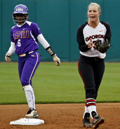 Tess Sito covers the second base bag in Friday's contest against LSU.
