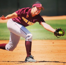 ASU middle infielder and Florida-transfer, Cheyenne Coyle, fields a ball in a home game at Farrington Stadium.